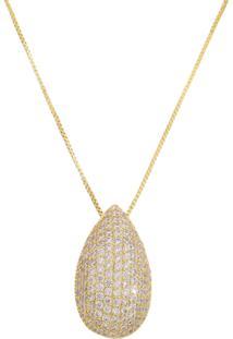 Colar Gota M Dourada Cravejada De Zironias - Kanui