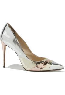 Scarpin Le Lis Blanc Kim Metallic Couro Prata Feminino (Prata, 34)