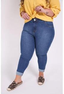 Calça Kauê Plus Size Cropped Jeans Feminina - Feminino-Azul