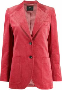 Ps Paul Smith Blazer Canelado Com Abotoamento Simples - Rosa