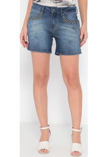 Bermuda Jeans Com Bordados- Azul- Malweemalwee