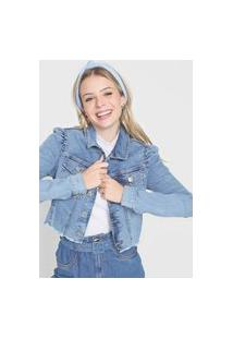 Jaqueta Jeans Malwee Mangas Bufantes Azul