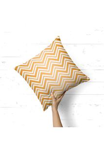 Capa De Almofada Avulsa Decorativa Chevron Douradas