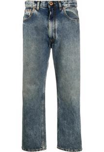 Maison Margiela Calça Jeans Cropped Cintura Média - Azul