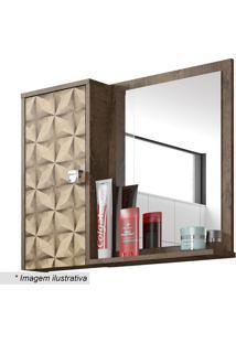 Espelheira Com Armário Superior Gênova- Madeira Rústica Bechara