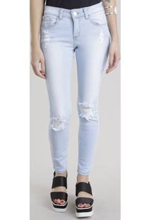 Calça Jeans Cigarrete Destroyed Azul Claro