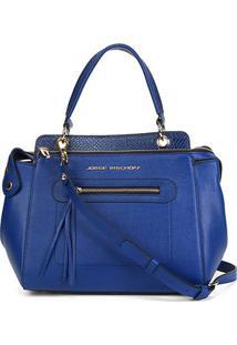 Bolsa Couro Jorge Bischoff New Floater Feminina - Feminino-Azul