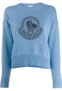 Moncler Logo Embroidered Sweatshirt - Azul