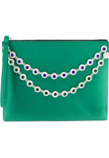 Christopher Kane Clutch Com Corrente De Cristais - Verde