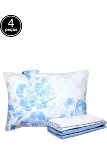 Jogo De Cama 4Pçs King Santista Home Design Elisa Azul