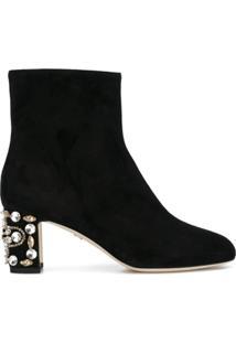 Dolce & Gabbana Ankle Boot De Couro E Camurça Com Aplicação - Preto