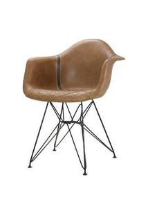 Cadeira Demi Courino Caramelo Base Preto 81Cm - 62845 62845