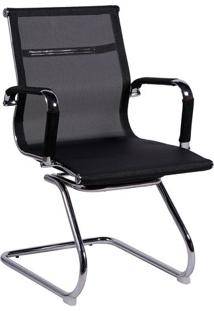 Cadeira Office Eames Tela- Preta & Prateada- 89X54,5Or Design