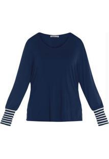 Blusa Viscotorcion Feminina Secret Glam Azul