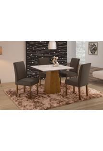 Conjunto De Mesa De Jantar Com 4 Cadeiras E Tampo De Madeira Maciça Turquia I Suede Grafite E Off White