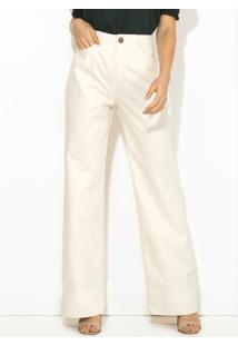 Calça Pantalona Sarja Alfaiate Off White