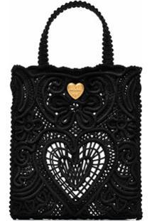 Dolce & Gabbana Bolsa Tote Beatrice Pequena De Crochê - Preto
