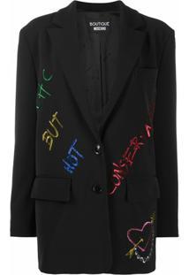 Boutique Moschino Blazer Com Detalhe De Slogan Em Paetês - Preto