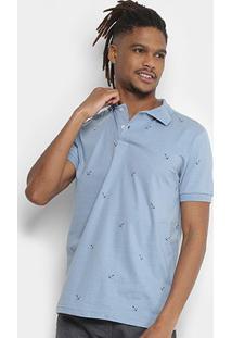 Camisa Polo Tigs Estampada Âncoras Masculina - Masculino-Azul Claro