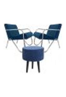 Kit 2 Poltronas Decorativas Azul Braços De Metal Com 1 Puff Gm
