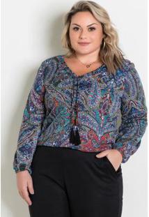 Blusa Mangas Bufantes Cashmere Plus Size