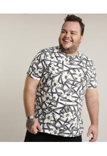 Camiseta Masculina Plus Size Slim Fit Estampada De Folhagem Manga Curta Gola Careca Branca