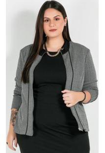 Jaqueta Plus Size Com Ziper Preto/Branco