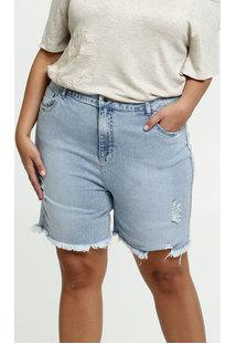 Bermuda Feminina Jeans Destroyed Plus Size Marisa