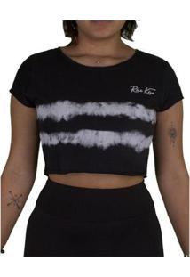 Camiseta Riu Kiu Cropped Tie Dye - Feminino-Preto