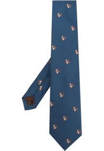 Church'S Gravata De Seda Com Padronagem - Azul