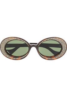 Gucci Eyewear Óculos De Sol Redondo Com Aplicação - Marrom