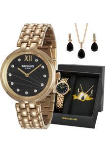 daf1d17515d E Clock. Relógio Dourado Feminino Seculus Analógico ...