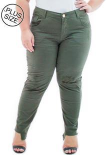 f874f63720 ... Calça Jeans Feminina Cropped Barra Assimétrica Plus Size