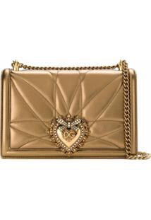 Dolce & Gabbana Bolsa Tiracolo Devotion De Couro - Dourado