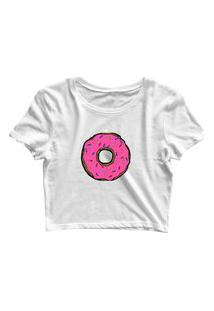 Blusa Blusinha Feminina Cropped Tshirt Camiseta Donuts Branco