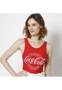 Body Com Inscriã§Ã£O Da Marca- Vermelha & Branca- Cocacoca-Cola