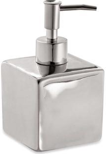 Porta-Sabonete Líquido Prata Cerâmica Mart Collection