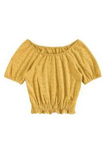 Blusa Lecimar Em Malha Laise E Viscose Alto Verão Amarelo