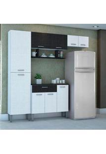 Cozinha Compacta Cris 4 Peças 9 Portas Com 1 Gavet Branco Linho/Preto Linho Kits Parana