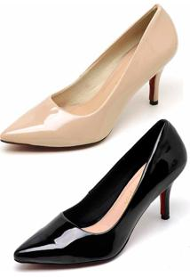 Kit 2 Pares Scarpin Casual Bellatrix Nude E Preto