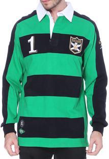 Blusa Kevingston Tuelef Polo Rugby Marinho Verde De Algodao