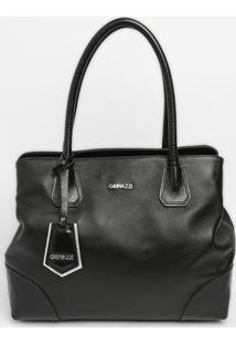 Bolsa Com Bag Charm & Recortes - Preta - 31X36X17Cm