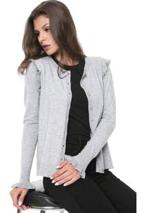 Cardigan Facinelli By Mooncity Tricot Babado Cinza - Kanui