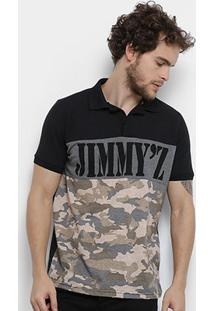 Camisa Polo Jimmy'Z Camuflado Navy Masculina - Masculino-Preto+Verde