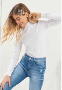 Blusa Branca Lisa Com Gola Alta