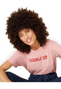 Amaro Feminino T-Shirt Saddle Up, Rosa Claro