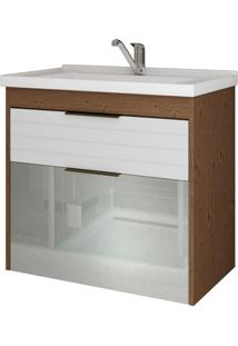 Gabinete De Banheiro Azaleia 1 Pt 1 Gv Amêndoa E Branco 59 Cm
