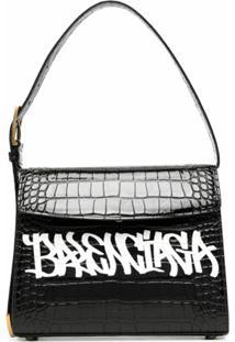 Balenciaga Bolsa Tiracolo Com Estampa De Logo E Efeito De Pele De Crocodilo - Preto