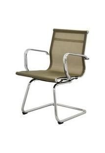 Cadeira Sevilha Eames Fixa Cromada Tela Dourada - 38072 Dourado