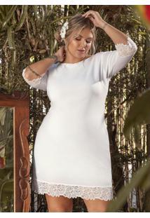 Vestido Branco Com Detalhes Em Renda